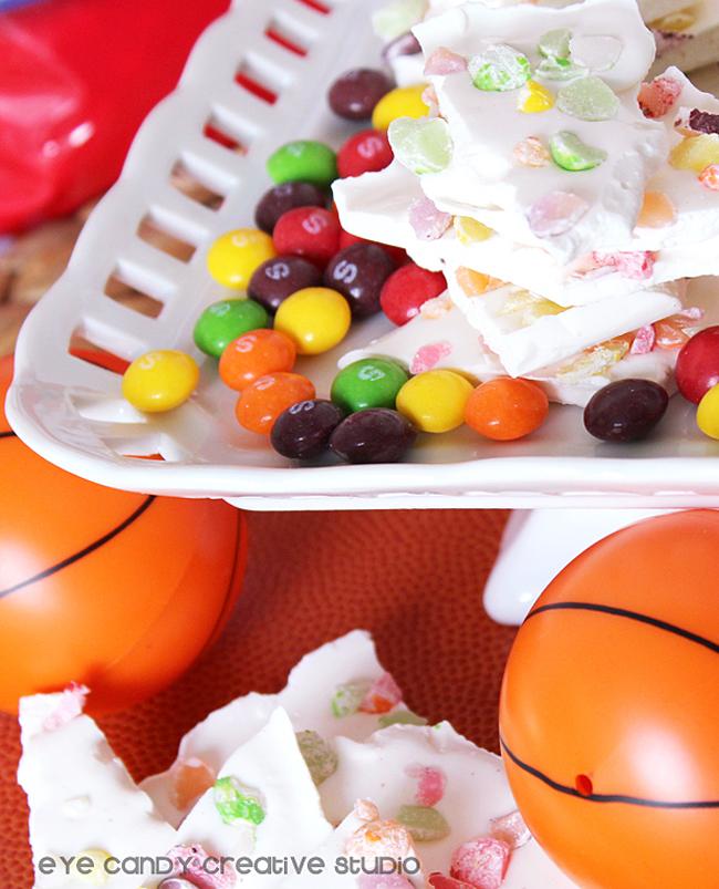 basketball party treat, skittles bark, dunk the rainbow, basketball