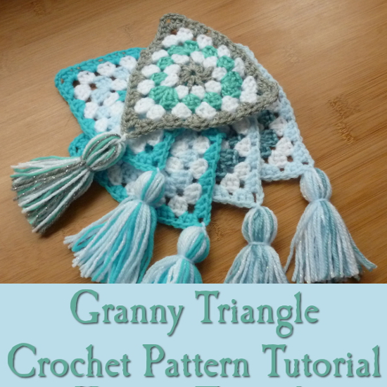 Free Granny Triangle Crochet Pattern Tutorial Ideal for Banners and Bunting shawls blankets crocheting instruction craftymarie.com yarn craft