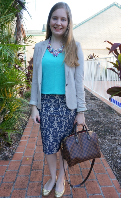 casual tank in the office jersey blazer lace pencil skirt with Louis Vuitton speedy bag | away from blue