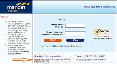 Cara aktivasi Token internet  banking mandiri
