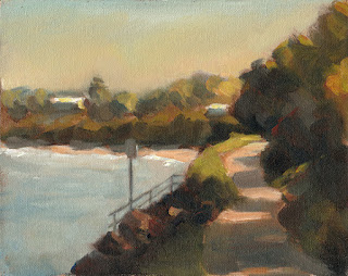 Oil painting of a path beside a coastal inlet.