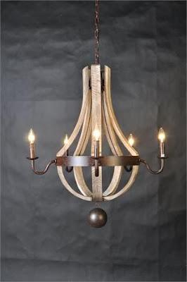lámparas con barriles de vino