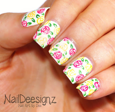 Yellow & Pink Rose Nail Art