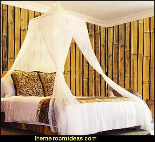 Yellow Bamboo wall mural White Square Top Bed Canopy - Holiday Resort Style