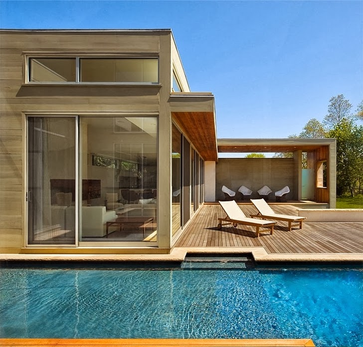 Swimming pool and terrace of Modern house by Blaze Makoid Architecture