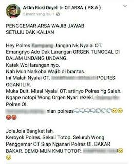 Pemilik Akun Hina Polres OI Ditangkap