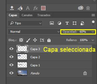 Modificar Opacidad capa en Photoshop