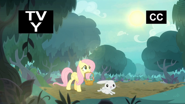 Fluttershy walking through the forest picking flowers with angle bunny.