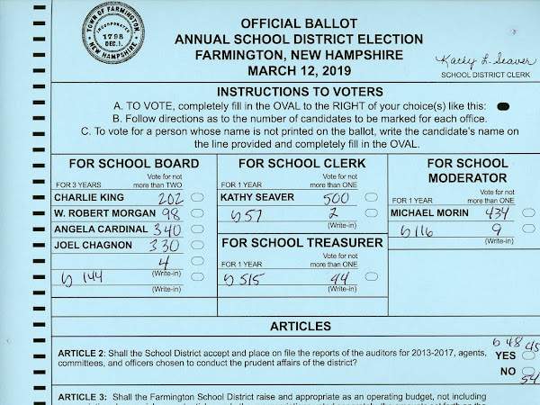 For The Archive-2019 #FarmingtonNH Election & Town Meeting Results