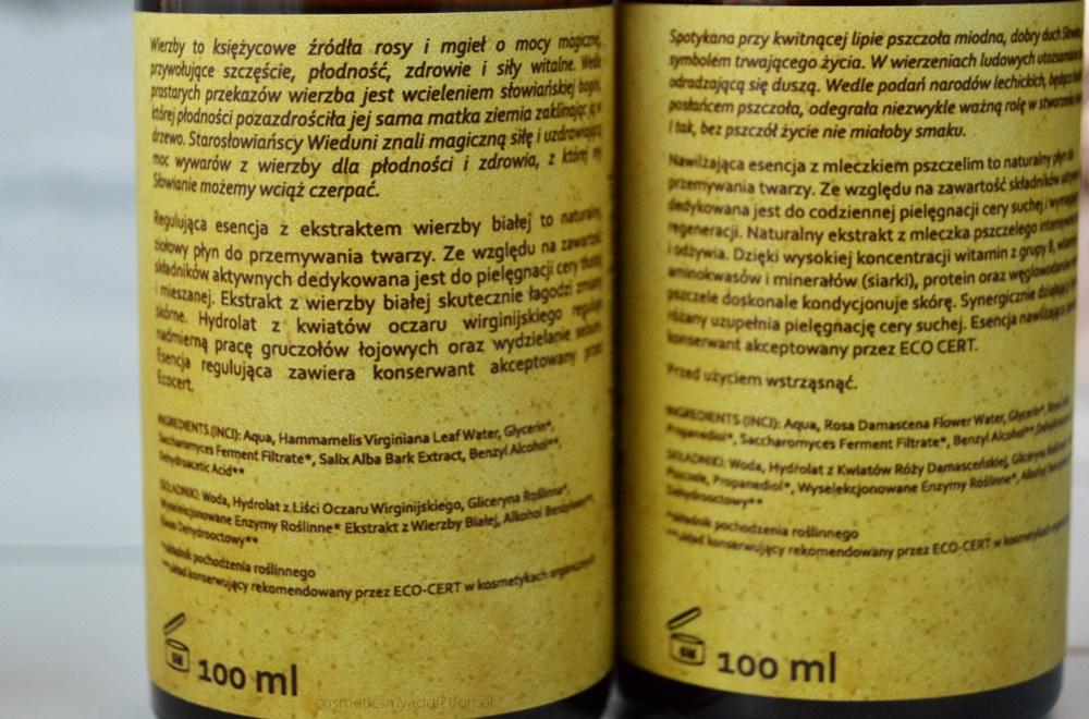 Polny Warkocz: esencja regulująca z ekstraktem wierzby białej i esencja nawilżająca z mleczkiem pszczelim