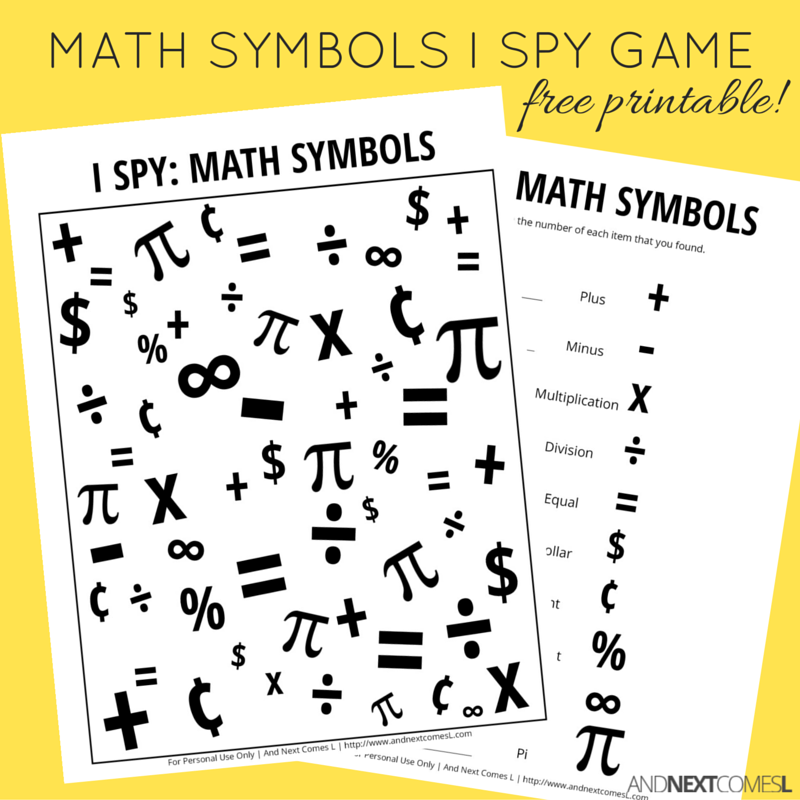 Math Themed I Spy Game Free Printable For Kids And Next Comes L