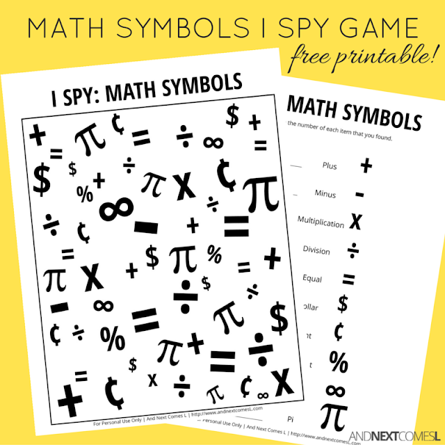 Free printable math themed I Spy game for kids - perfect for Pi Day from And Next Comes L