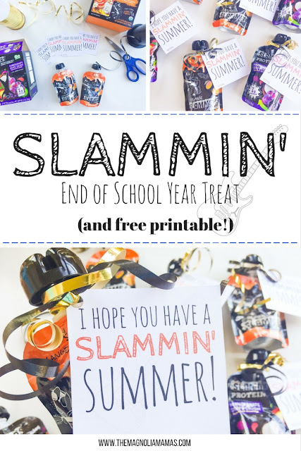 Have a Slammin' Summer! Great end of the school year treat idea with free printable. Coordinates well with Slammers Organic pouch snacks. Great treat idea for older kids!
