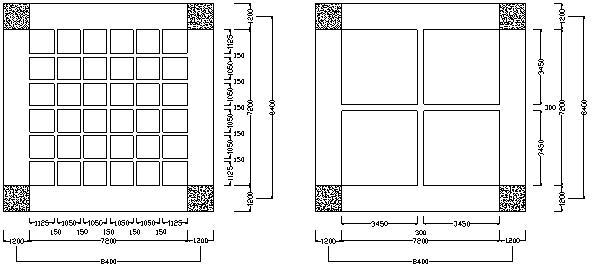 Fig. 2 Mặt bằng sàn ô cờ và sàn có dầm