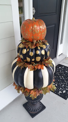 hand painted pumpkin topiary