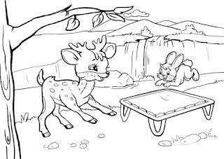 Cute Baby Deer And Rabbit Coloring Sheet