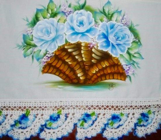 Pintura em tecido cesta de rosas azuis