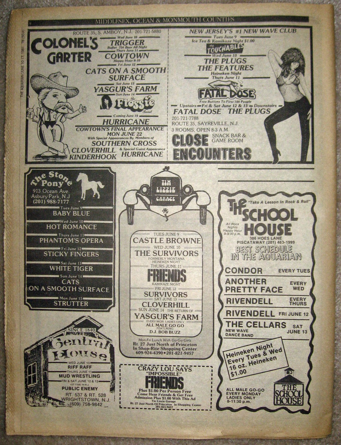 Colonel's Garter - The Stone Pony - Tin Lizzie - Close Encounter's - The School House - Central House band line ups 1981