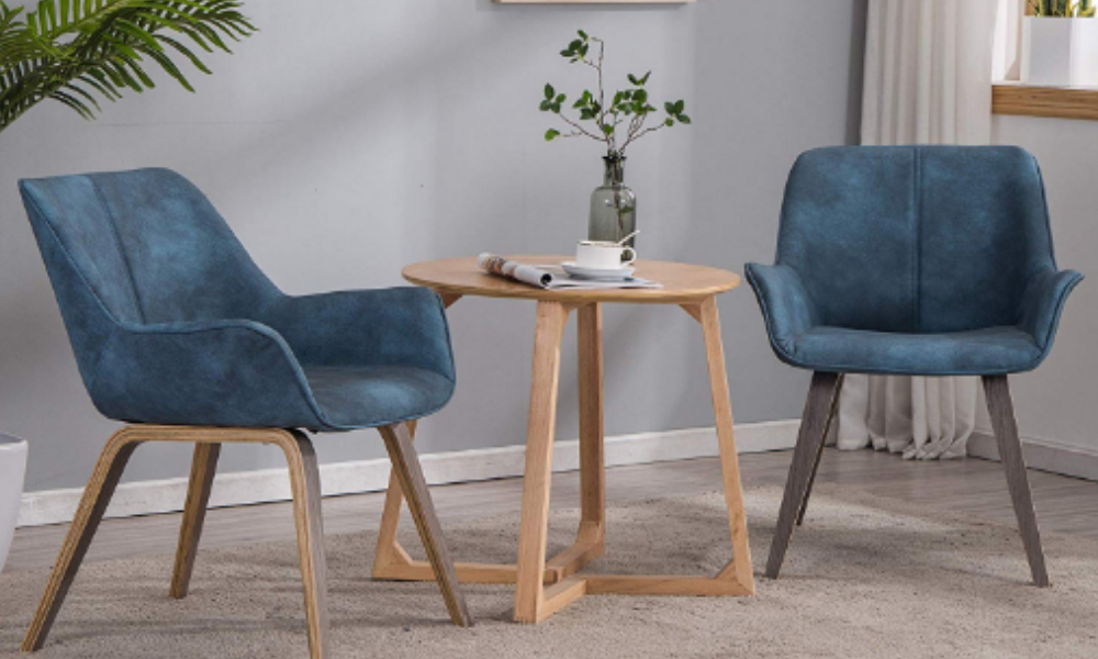 YEEFY Modern Dining Chairs with arms Tufted Dining Chairs Set of 2 (Blue)