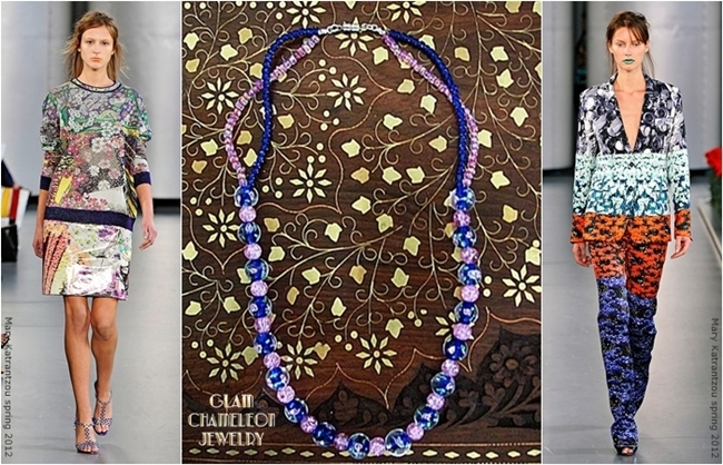 Glam Chameleon Jewelry pink and blue glass beads necklace