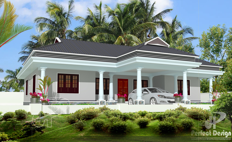 Simple and beautiful kerala style 3 bedroom house in 1153 for Www kerala house plan free
