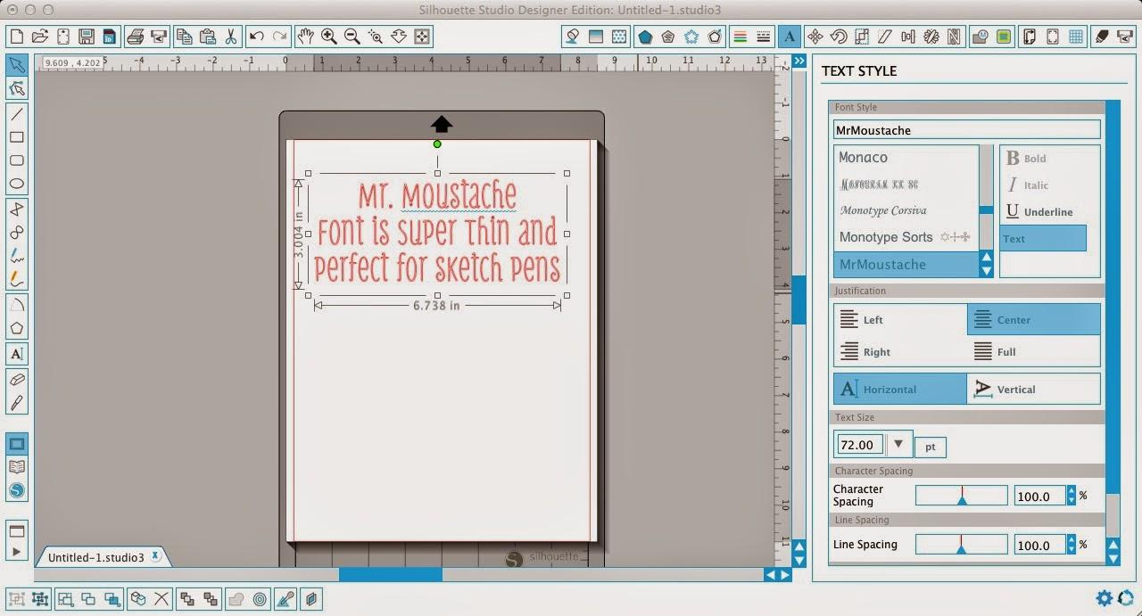 Silhouette sketch pens, thin fonts, Silhouette Studio, Mr. Moustache