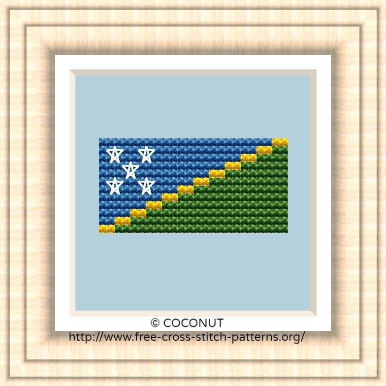 NATIONAL FLAG OF SOLOMON ISLANDS CROSS STITCH CHART