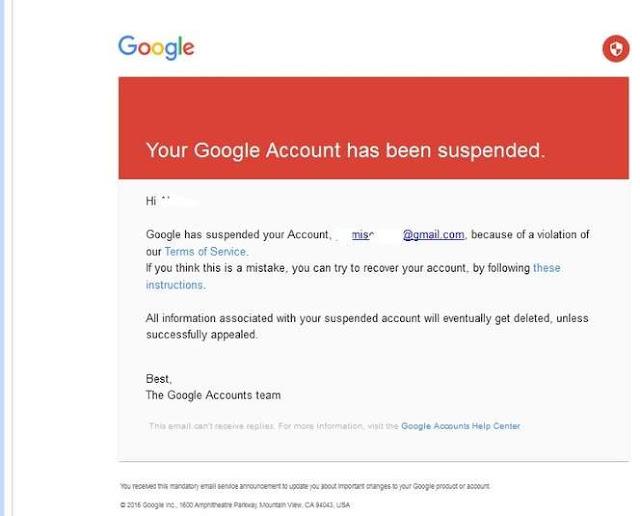 Google Account has been suspended