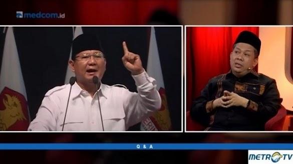 Makjleb! Ditanya di Acara MetroTV Soal Figur Prabowo, Begini Jawaban Fahri Hamzah