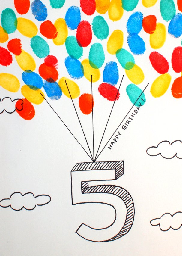 Free Printable 5 Year Old Fingerprint Balloon Card