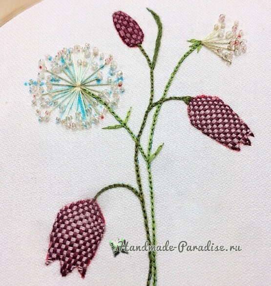 Мастер-класс. Объемная вышивка тюльпаны (15)