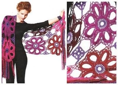 Chal Crochet Flores Gigantes