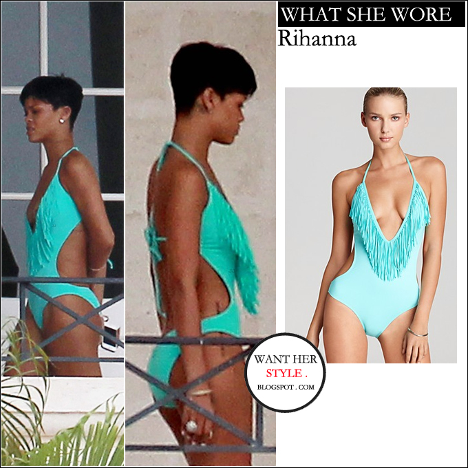6d5267ceaf0 WHAT SHE WORE: beautiful green aqua fringe one piece swimsuit from L*Space  BUY: L*Space Stardust Straight ...