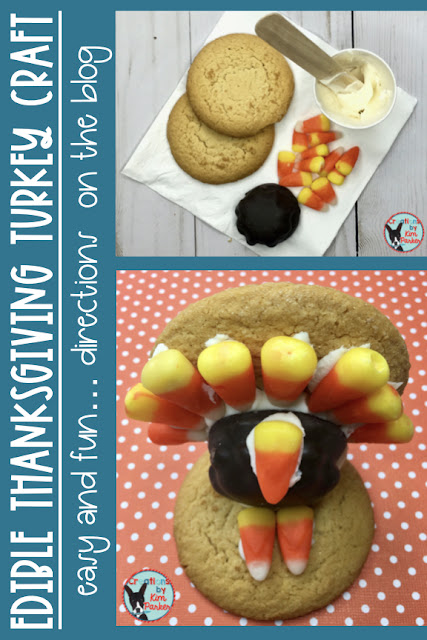 This edible Thanksgiving turkey craft is easy to complete and your students will love it! Students can begin their Thanksgiving feasting early- great as a snack during a Thanksgiving turkey read aloud or video!
