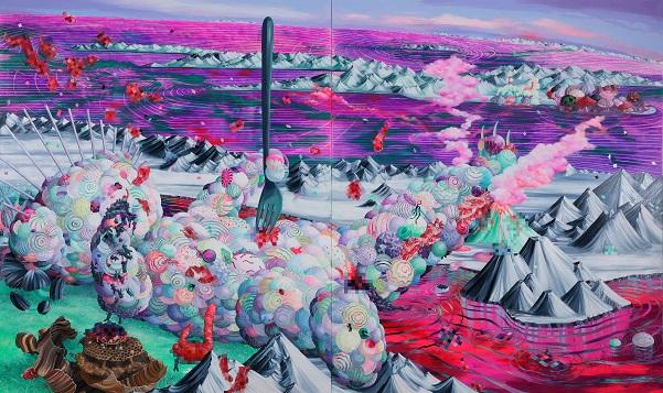 "by Eguchi Ayane, ""Lollipop Bear"", 2018, oil on canvas | imagenes surrealismo pop japones, obras de arte, pinturas, cool art pictures"