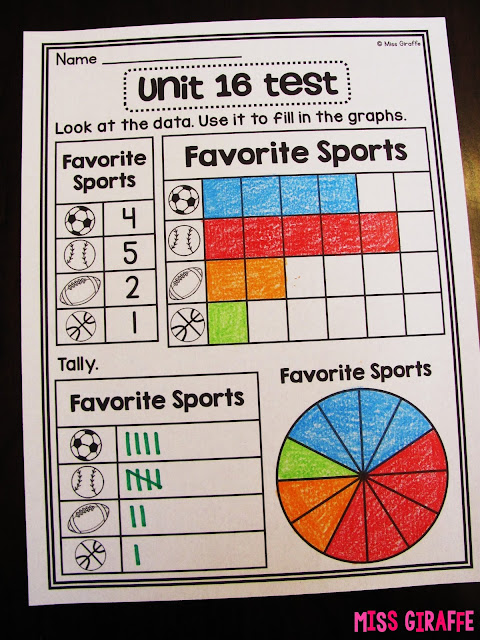 Graphing assessments and activities first grade