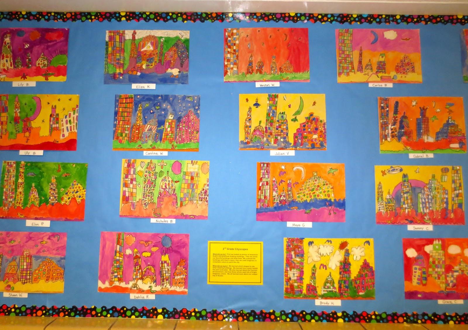 Zilker Elementary Art Class Second Grade Cityscape Paintings