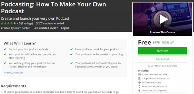[100% Off] Podcasting: How To Make Your Own Podcast| Worth 175$