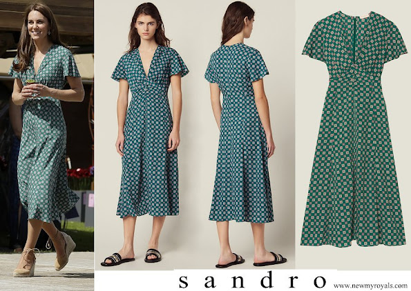 Kate Middleton wore Sandro short sleeved printed flowing dress