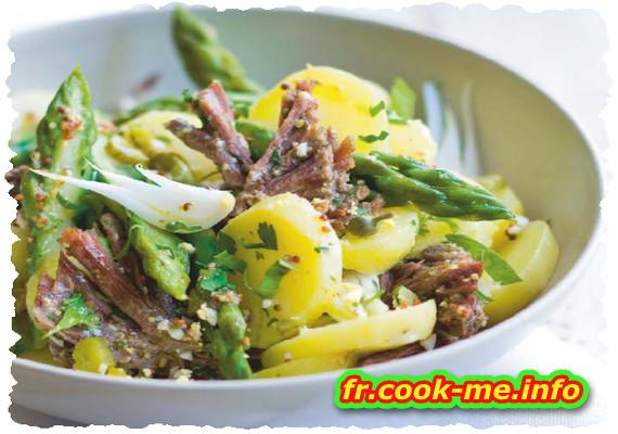 Salade de bœuf aux pommes de terre et asperges vertes