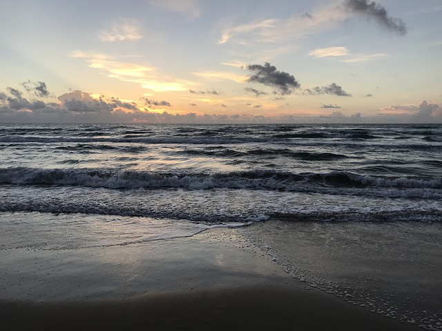 a picture of shore, waves and horizon at South Padre Islands