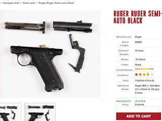 Ruger 22 lr pistol with demilled upper receiver