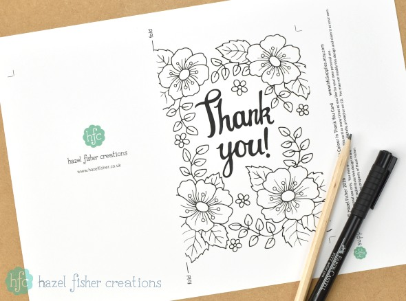 Free Printable Colour in Thank You Card by hazelfishercreations