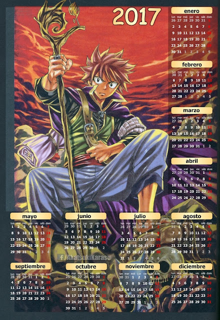 calendario 2017 anime fairy tail