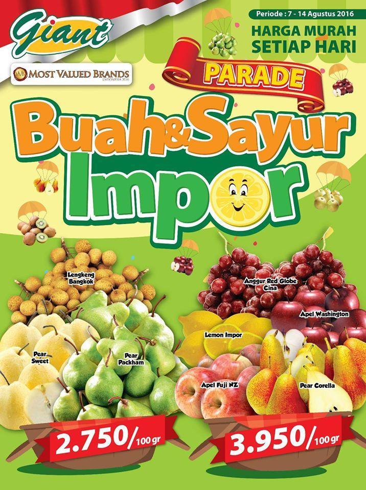 Promo Parade Sayur Dan Buah Import Di Giant Harga Mulai 5 Ribuan