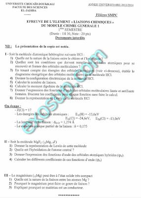 contrôles avec corrigés liaisons chimiques smpc s2 fsj