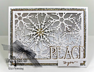 Our Daily Bread Designs Stamp Set: Merry & Bright, Our Daily Bread Designs Custom Dies: Snowflake Sky, Snow Crystals, Double Stitched Rectangles, Peace Border Die, Log Cabin Quilt Dies, Our Daily Bread Designs Paper Collection: Winter Paper 2014