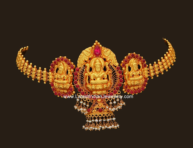 Gold Bajuband in Lakshmi Design