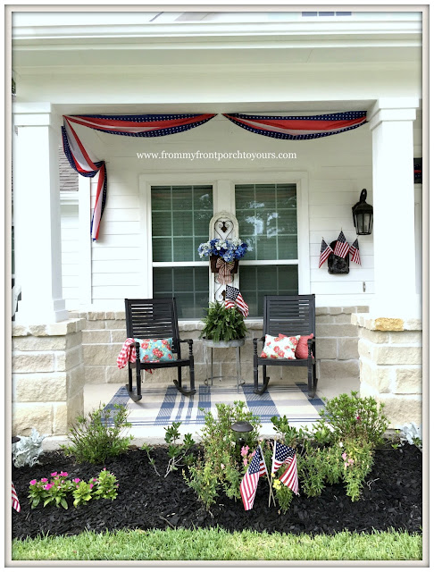Farmhouse-Fourth of July-Buntings-Rocking Chairs-Grandin Road-Plaid Porch Rug-Pioneer Woman Pillows-Patriotic Front Porch-From My Front Porch To Yours