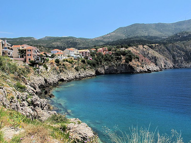 view of Assos, Kefalonia, Greece cliff and water photo by sue wellington